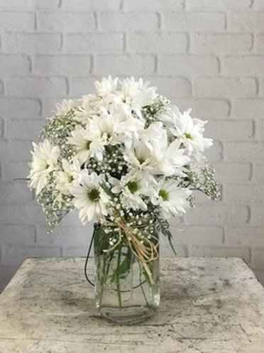 daisy mason jar bouquet