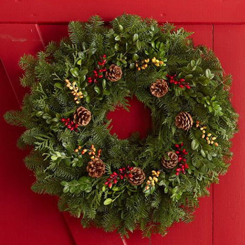 fresh pine wreath 22""