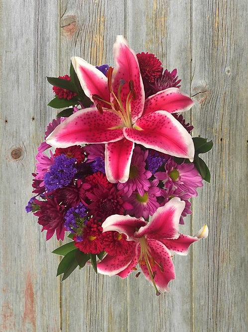 lily mix wrapped bouquet