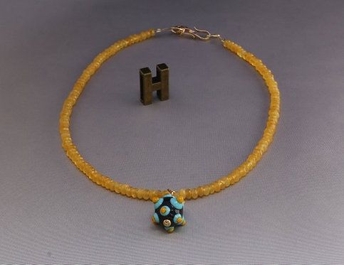Glass bead necklace, Statement necklace, Turquoise black yellow, colored jad