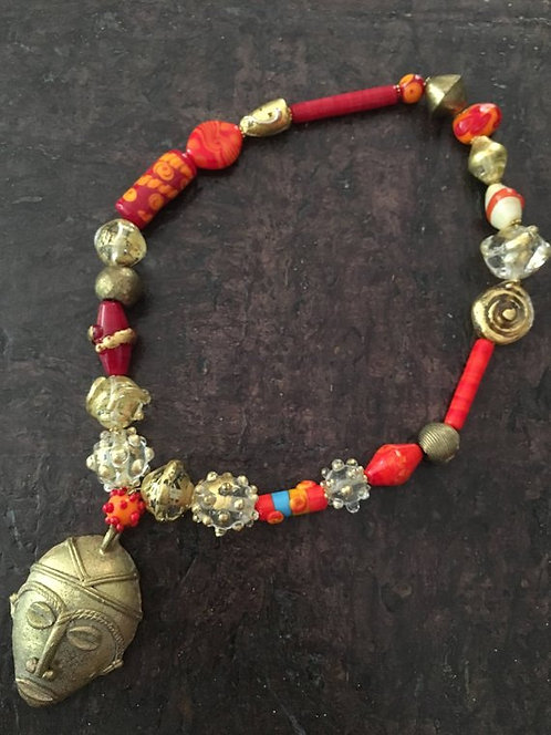 Handmade glass beads, Glass beads with gold leaf, African beads, lampw