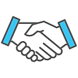Teal hand-holding icon