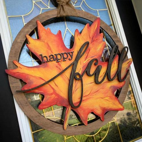 Happy Fall 3D Laser Cut Front Door Sign