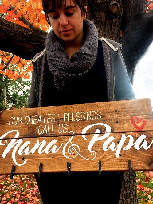 Customized Nana & Papa photo display