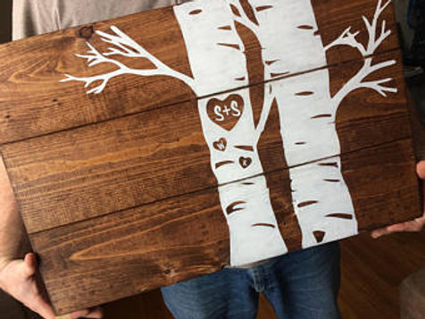 Customized Birch Tree Hand painted Pallet Sign