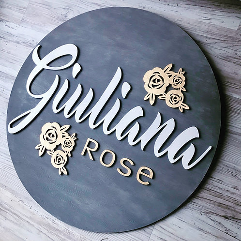 Custom Round Wooden 3D Laser Cut Name sign | Personalized Gift | Nursery Decor |