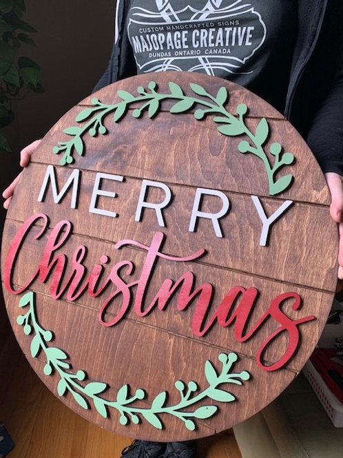 'Merry Christmas' Shiplap 3D wooden sign