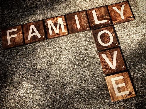 FAMILY LOVE Scrabble Tile Letters