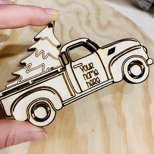 Personalized Old Truck Wooden Christmas Ornament