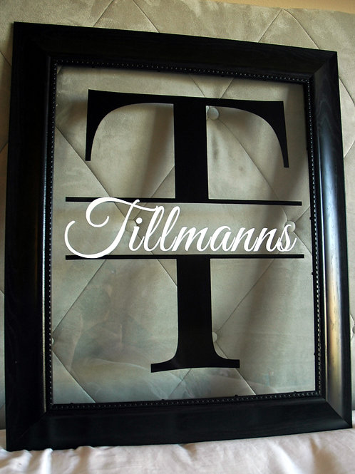 """Single Initial with Script Name Floating Frame - 14 x 17"""""""