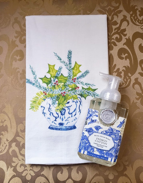 Christmas Floral in Blue and White