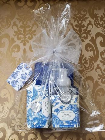 Indigo Cotton Hand Soap & Large Bath Soap Bar Gift Package