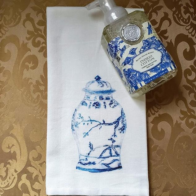 Indigo Cotton Ginger Jar Gift Set