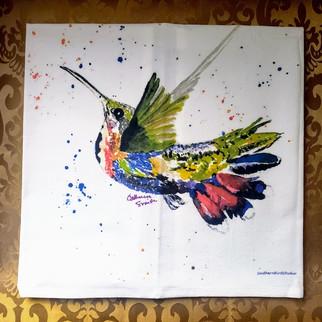 Mango Hummingbird Tea Towel
