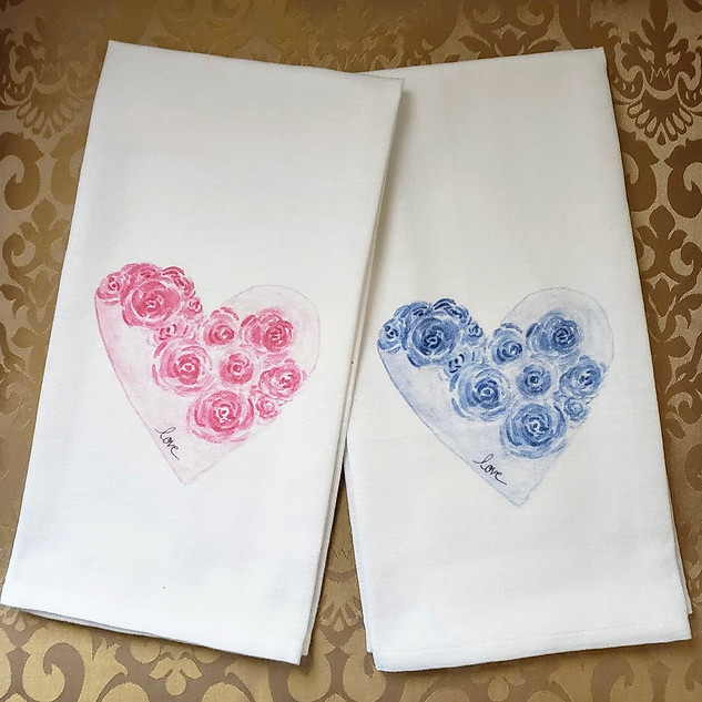 Hearts and Flowers in Pink of Blue with