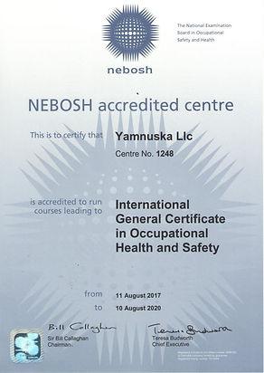 Ямнаска общий сертификат НЕБОШ NEBOSH IG