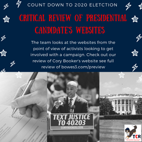 Review of Cory Booker's campaign website