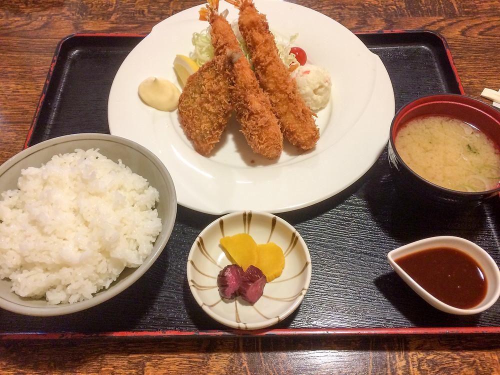 海老・アジフライ定食
