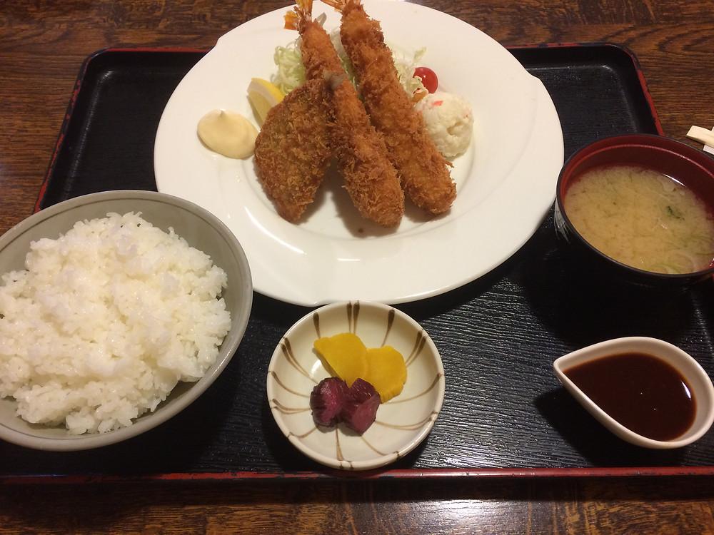 海老&アジフライ定食
