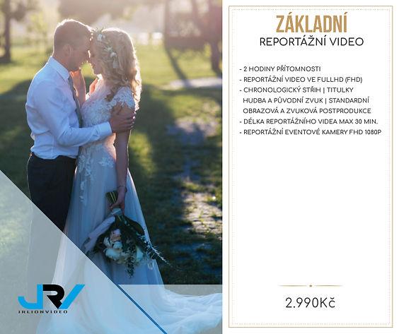 Svatební ceník JRV - reportážní video - základní