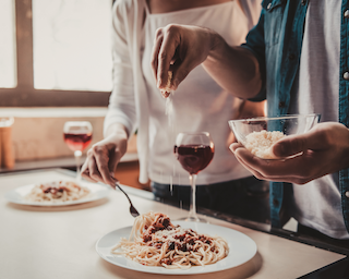 A romantic dinner at home can be the best last minute decision.
