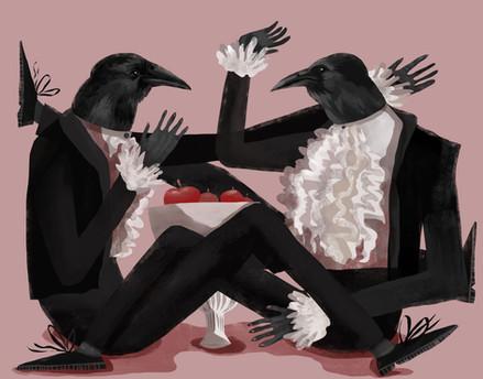 Crows Eating