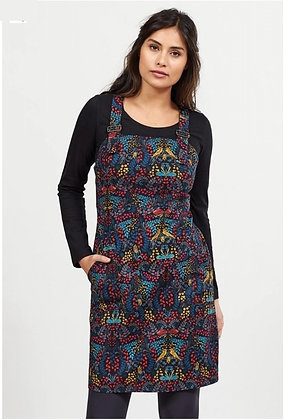 Nomads Printed Dungaree Pinafore Dress. Graphite.