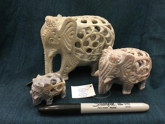 Soapstone Carved Elelphants