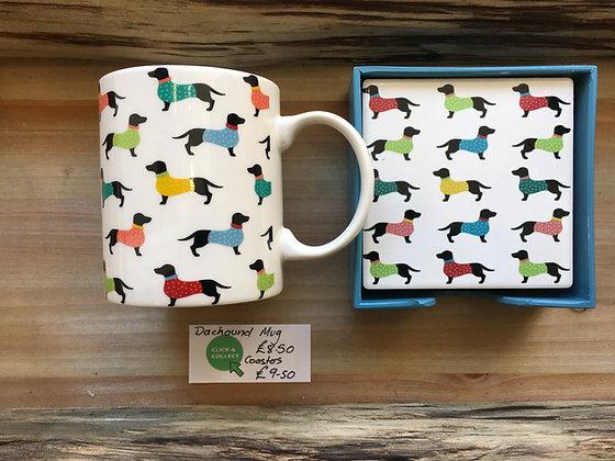 Dachound Mug & Coasters