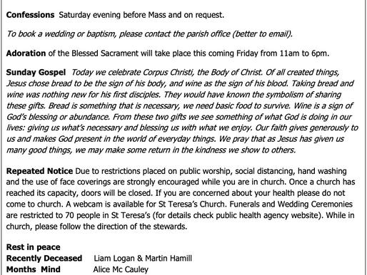 The St Teresa's Parish Bulletin for Sunday, 6th June 2021