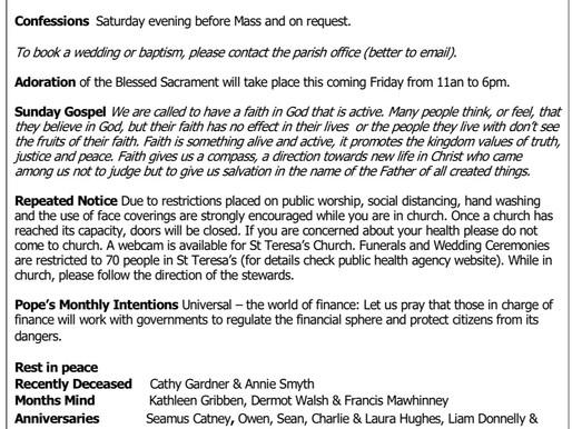 The St Teresa's Parish Bulletin for Sunday, 30th May 2021