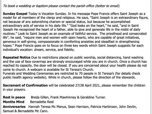 The St Teresa's Parish Bulletin for Sunday, 25th April 2021
