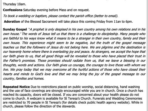 The St Teresa's Parish Bulletin for Sunday, 4th July 2021