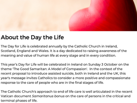 Day for Life 2021 - Sunday, 3rd October 2021