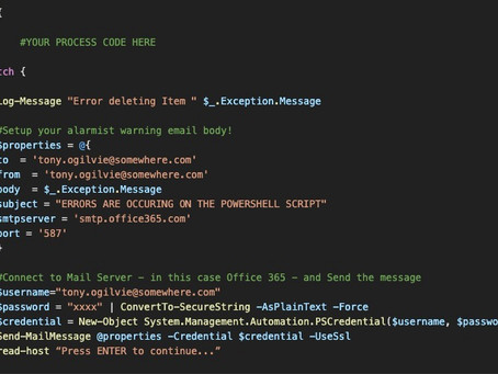 Using PowerShell to send a warning email if a long-running script has thrown an error