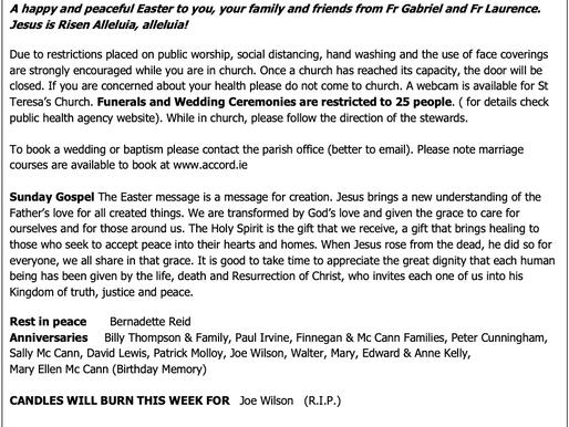 The St Teresa's Parish Bulletin for Easter Sunday, 4th April 2021