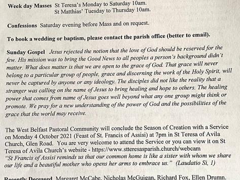 The St Teresa's Parish Bulletin for Sunday, 26th September 2021
