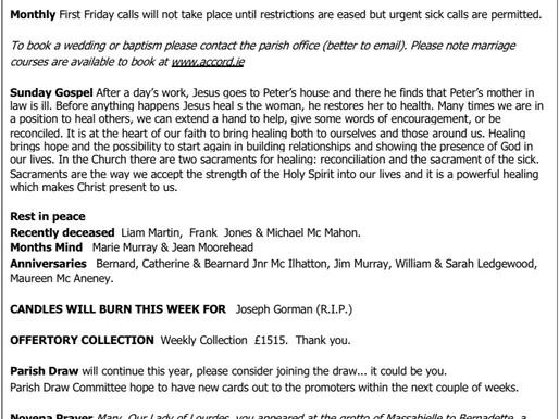 The St Teresa's Parish Bulletin for Sunday, 7th February 2021
