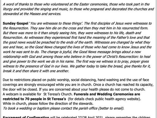 The St Teresa's Parish Bulletin for  Sunday, 18th April 2021