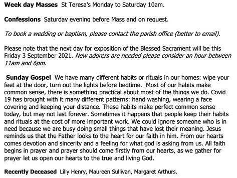 The St Teresa's Parish Bulletin for Sunday, 29th August 2021