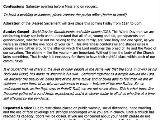 The St Teresa's Parish Bulletin for Sunday, 24th July 2021