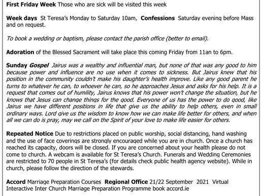 The St Teresa's Parish Bulletin for Sunday, 27th June 2021