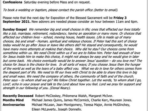 The St Teresa's Parish Bulletin for Sunday, 22nd August 2021