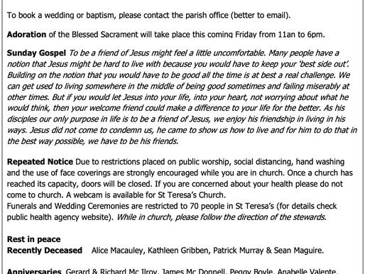 The St Teresa's Parish Bulletin for Sunday, 9th May 2021
