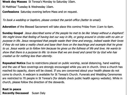 The St Teresa's Parish Bulletin for Sunday, 18th July 2021