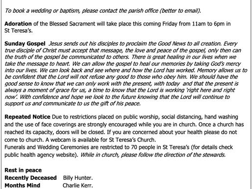The St Teresa's Parish Bulletin for Sunday, 16th May 2021