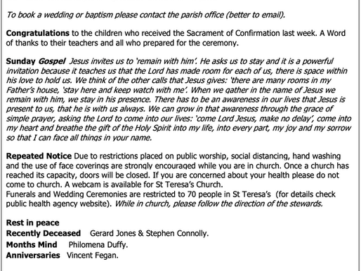 The St Teresa's Parish Bulletin for Sunday, 2nd May 2021