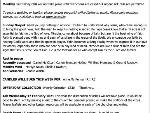 The St Teresa's Parish Bulletin for Sunday, 14th February 2021