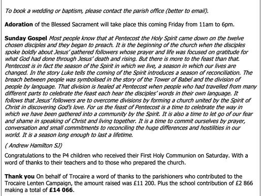 The St Teresa's Parish Bulletin for Sunday, 23rd May 2021