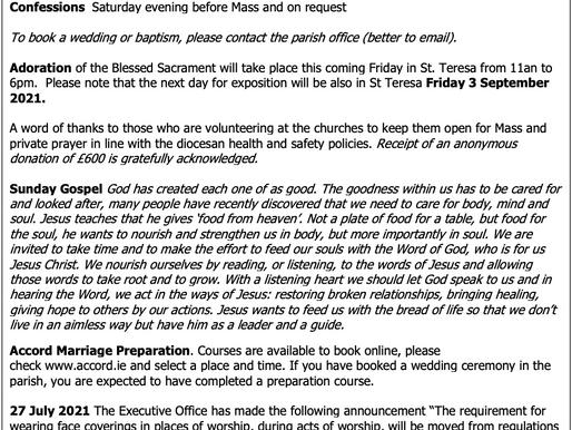 The St Teresa's Parish Bulletin for Sunday, 1st August 2021